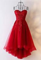 kırmızı askısız kısa tül elbise toptan satış-Kırmızı Dantel Yüksek Düşük Parti Elbiseler 2019 Straplez Backless Tül Kısa Gelinlik Modelleri Kadın Abiye giyim Özel Durum Elbise Artı Boyutu