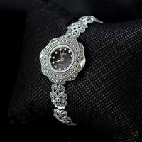 старинные серебряные браслеты смотреть оптовых-MetJakt Vintage Quartz Bracelet Watch with Zircon Solid 925 Sterling Silver Bracelet for Women's  Thai Silver Jewelry