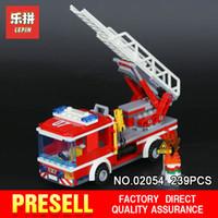 Wholesale toy fire truck models - Lepin 02054 239Pcs Genuine City Series The Fire Ladder Truck Set 60107 City Series Building Blocks Bricks Educational Toys Model