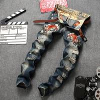 ingrosso pantalone jeans cinese-MENS cinese ricamo floreale tigre floreale vintage jeans lavati buchi pantaloni di jeans jeans strappati usura high street