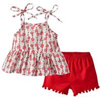 camisa de verão vermelho de bebê venda por atacado-2 PCS Verão Kid Baby Girl Flores Sem Mangas Com Alças T-shirt Top Vermelho + Calça Outfit Roupa Ocasional Algodão Roupas Sunsuit 1-7Y
