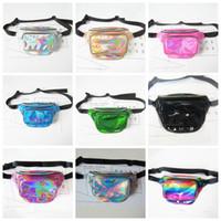 Wholesale metallic rainbow - 9 Colors Unisex Laser Translucent Waist Bag Waterproof Rainbow Hologram Metallic Silver Fanny Packs Unisex Casual Waistpacks CCA9863 50pcs