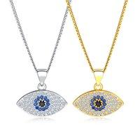 ingrosso collana di cristallo di buona fortuna-Oro Argento Blu Evil Eye Necklace For Women Good Luck Collana a catena pendente in cristallo Pendenti Donna Gioielli di moda