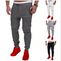 Wholesale heavyweight sweatpants - Spring Autumn Track Pants Men Sweatpants Cotton Blend Brushed Full Length Relaxed Button Fly Pleated Casual Sport Active Size S-3XL