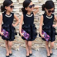 ingrosso vestito a strisce nero-bambini neonate pageant banda nera solido tulle party dress bambini ragazze elegante abito patchwork di pizzo patchwork
