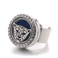 Discount steel leopard - New crystal stainless steel leopard head adjustable aroma box ring men and women fashion jewelry to send six felt pad YLH3
