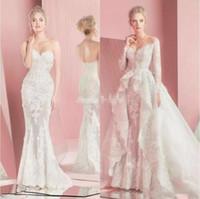 Zuhair Murad Detachable Wedding Dresses Fall Winter Lace Long Sleeves 2 Pieces Sweetheart Neck Applique Sheath Beach Bridal Gowns