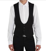 balo elbisesi stilleri toptan satış-Siyah Düğün Damat Yelekler Düzenli Stil Custom Made Örgün Erkekler Suit Yelek Düğün Balo Yemeği Yelek