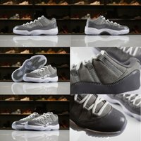 Wholesale authentic quality shoes - High Quality Release 11 Low Cool Grey Mens Basketball Shoes Authentic Real Carbon Fibers Sports casual Shoes 528895-003