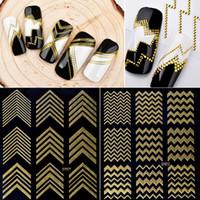 Wholesale art paper sheet resale online - New Sheet Gold Metal Nail Stickers d Rivet Wave Metallic Decals Self adhesive Sticker Paper DIY Beauty Nail Art Decorations