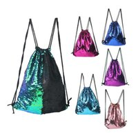 Wholesale drawstring bags color print for sale - Group buy Double color Mermaid Sequin Backpack Sequins Drawstring Bags Reversible Paillette Outdoor Backpack Glitter Sports Shoulder Bag
