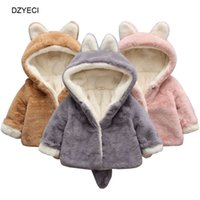 Wholesale cotton blends kids outwear coats for sale - Fall Winter Animals Warm Hooded Coat For Baby Boy Girl Outwear Costume Fashion Kid Plush Parkas Children Outwear Jacket With Ears Clothes