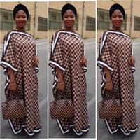 ingrosso abiti oversize-Dree Length 128cm, Busto: 176cm New Fashion Dress For Women Vestito elegante oversize con stampa africana