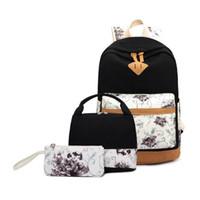 3pcs girls vintage school backpack children back bag school bags for girls  canvas backpack female flower bag set pen pencil case Y18100804 14d9785335
