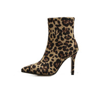 Wholesale sexy shoes leopard red online - Autumn winter ankle boots for women sexy leopard high heels ladies shoes pointed toe stiletto woman boots plus size