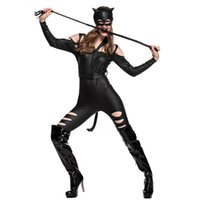 Wholesale sexy leather catwoman costume - Woman Halloween Catwoman Costume Female Sexy Adult tight leather catsuit Cosply masked ball Nightclub Bar Role play party dress