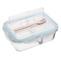 bento lonchera compartimientos compartimientos contenedores al por mayor-Estilo coreano Fiambrera Cristal Microondas Bento Caja Caja de almacenamiento de alimentos Contenedores de alimentos escolares con compartimentos para niños