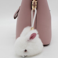 Wholesale red rabbit ring for sale - Group buy Cute Fluffy Bunny Keychain Pendant Rabbit Fur Pompoms Key Chain Fur Pom Pom Keychain Bag Charm Car Pendant Key Ring