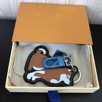 Chai dog Keychains Luxury Designer Calfskin Leather Key Chain Laser Embossed Logo Bag Pendants With Box