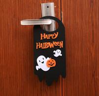 decoraciones de fiesta negro naranja al por mayor-Feliz Halloween decoraciones linterna de calabaza gato de la historieta negro fantasma naranja cráneo colgando gancho puerta percha adornos para pubs fiesta de cosplay
