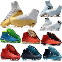 Wholesale womens cheap football boots - Cheap 100% Original Quality Mercurial Superfly FG CR7 Kids Soccer Shoes Womens Girls Magista Obra Outdoor Football Boots Hypervenom Cleats