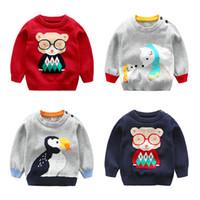 ingrosso maglione maglione dei capretti dei capretti-Neonato maglione di cotone con bottoni a spillo aperto con maglione lavorato a maglia Outfit Animal Top New Fall Infant Abbigliamento per bambini