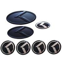kia optima embleme großhandel-2018 neue Kohlefaser Schwarz Auto Aufkleber 3D K logo Flug Vorne Hinten Emblem Abzeichen Für KIA K5 2011-2013 OPTIMA FORTE 2009-2014