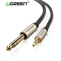 gold plated cables Canada - Ugreen 3.5mm to 6.35mm Adapter Aux Cable for Mixer Amplifier CD Player Speaker Gold Plated 3.5 Jack to 6.5 Jack Male Audio Cable