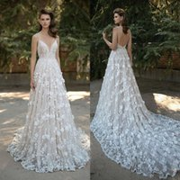 Wholesale Amazing Mermaid - Amazing Berta Mermaid Lace Wedding Dresses Spaghetti Straps V Neck Backless Bridal Gowns 3D Appliqued Sweep Train Beaded Vestidos De Noiva