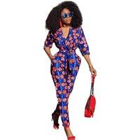 damen anzug bilder großhandel-Smart Printing Lady Lange Overalls mit 3/4 Ärmeln V-Ausschnitt Elegante Frauen Jumpsuits Sash Pocket Fashion Hosen Anzüge Echt Bilder 2018 Neu