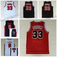 Wholesale Nwt Shirt - NWT 33 Scottie Pippen Jersey Throwback Uniforms Scottie Pippen Shirt Home Red Road Away White Navy Blue