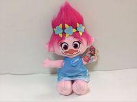Wholesale mini magic fairy - 23CM Trolls Plush Toy Poppy Branch Dream Works Stuffed Cartoon Dolls The Good Luck Christmas Gifts Magic Fairy Hair Wizard