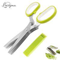 Wholesale Multipurpose Cleaner - Lmetjma Multipurpose Stainless Steel Herb Scissors With 5 Blades Kitchen Vegetable Scissors Chopper With Cleaning Brush Lk0912c