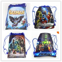 Wholesale 24pcs Cartoon Drawstring bag Avengers Spidermen Iron Man Them Party Favors Birthday Gifts for Boy Party Supplies