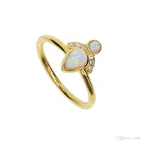 Wholesale Yellow Gold Opal Ring - 18k yellow gold plated fashion rings girl women crown princess gift WHITE fire Opal gemstone dainty gold finger ring