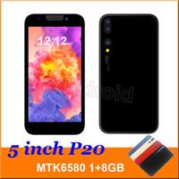двухъядерный смартфон оптовых-5-дюймовый 3G Смарт Сотовый телефон Android 6.0 MTK6580 Четырехъядерный процессор 1G 8GB Мобильный Dual SIM-камера WCDMA разблокирована Face Unlock P20 Смартфон Бесплатно DHL