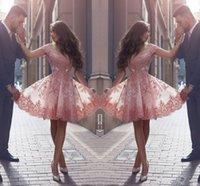 vestidos estilo organza venda por atacado-2018 empoeirado rosa novo estilo árabe regresso a casa vestidos ombros apliques cap mangas curtas vestidos de baile vestidos de cocktail sem encosto
