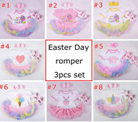 Wholesale Girls Skirt Shorts - Easter Day baby girls infant toddler 3piece outfits Princess Floral romper onesies jumpsuit lace tutu skirt pettiskirt + headband + shoes