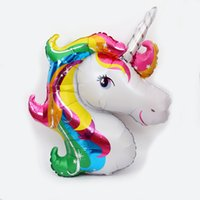 Wholesale unicorn party supplies for sale - Cartoon x85cm Air Balloons Rainbow Color Unicorn Shape Balloon Resuable Eco Friendly Aluminum Foil Airballoon Wedding Decorations sl B