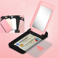 Wholesale Hard Plastic Credit Card Case - Luxury Flip Mirror Credit Card Holder Case Cover For iPhone X 8 7 6 Plus Hard PC+TPC Girls Cosmetic Mirror Cases