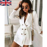 damen langer weißer trenchcoat großhandel-2018 neue Mode Frauen White Trench Long Zweireiher Gürtel Lady Herbst Drawstring Trench Lässige formale Mantel Outwear