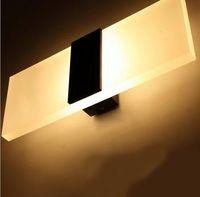 ingrosso interruttore luci da parete per bagno-LED applique da parete soggiorno salotto corridoio foyer camera da letto bagno moderno applique luce quadrato acrilico LED lampada da parete decorazione luci