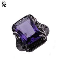 anillos púrpuras masculinos al por mayor-8 Estilo Hombre Mujer Gran Anillo Púrpura Moda Negro Anillo de Oro Anillos de Boda de La Vendimia Para Hombres Y Mujeres Joyería Regalo del Día de San Valentín