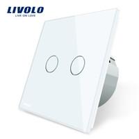 Wholesale Wall Switch Panels - Livolo 2 Gang 1 Way Wall Touch Switch, White Crystal Glass Switch Panel, EU Standard, 220-250V,VL-C702-1 2 3 5