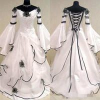 Wholesale fitted women wedding dresses online - Renaissance Vintage Black and White Medieval Wedding Dresses For Arabic Women Celtic Bridal Gowns with Fit and Flare Sleeves Flowers Cheap