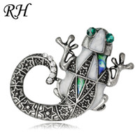 Wholesale lizard jewelry wholesale - Vintage Metal Crystal Lizard Brooch For Women Collar Pins Corsage Decoration Animal Brooch Badges Sweater Jewelry Accessories