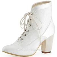 ingrosso scarpe bianche chiuse-HC1528 Avorio bianco sposa damigelle sposa chiuso punta quadrata Comfort tacco basso in raso di pizzo da sposa scarpe da sposa stivali