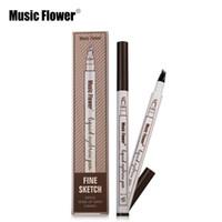 ручка делает оптовых-Музыка цветок штраф эскиз жидкость бровей ручка 3 цвета водонепроницаемый 4 головки татуировка прочный карандаш для бровей макияж бровей ручка
