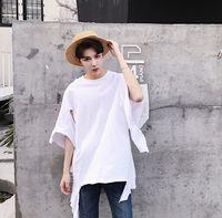 Wholesale Night Shirt Men - Street Irregular Men's Night Club Costume Fashion Hip Hop T-shirt Male Tide Brand Tops