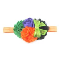 Wholesale baby hair designs online - Baby Girls Halloween Headband Bow Elastic Hair Head Hairband Phtography Props Fashion Design Headwear